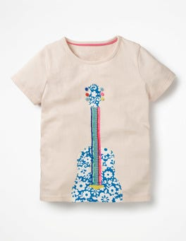 Pink Mist Guitar Wild Appliqué T-shirt