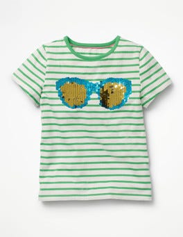 Ivory/Peppermint Green Sunny Colour-change T-shirt