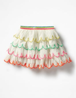 Ivory Rainbow Scallop Skirt