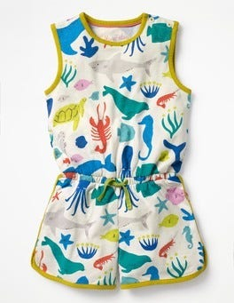 Ivory Under The Sea Retro Jersey Playsuit