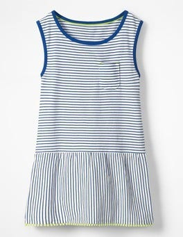 Ivory/Orion Blue Stripe Drop-waist Jersey Dress