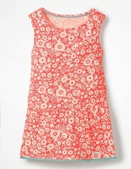 Paradise Pink Surf Floral Drop-waist Jersey Dress