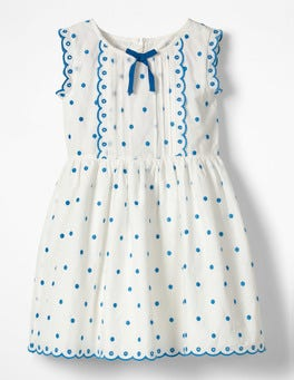Ecru/Fluoro Blue Spot Embroidered Spotty Bow Dress