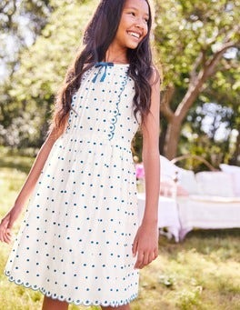 Embroidered Spotty Bow Dress