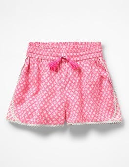 Knockout Pink/Ivory Geo Coral Hotchpotch Woven Shorts