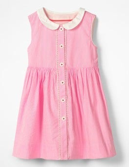Knockout Pink Ticking Nostalgic Collar Dress