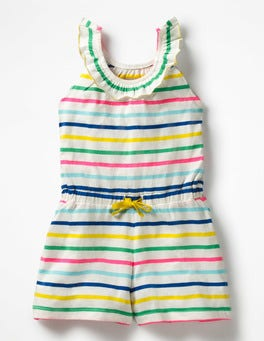 Neon Rainbow Multi Stripe Printed Jersey Playsuit