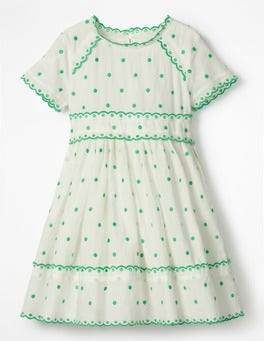 Ecru/Mint Embroidered Spot Spotty Short-sleeved Dress