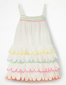 Ivory Rainbow Scallop Dress