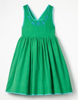 Peppermint Cream Green Pretty Embroidered Bow Dress