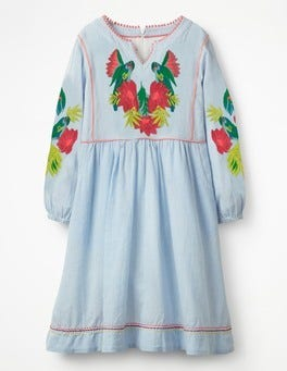 Soft Blue Stripe Embroidered Boho Dress