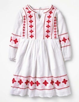 White Embroidered Boho Dress
