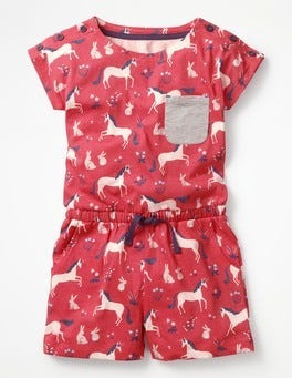 Strawberry Split Pink Unicorns Colourful Jersey Playsuit