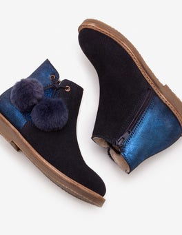 Navy Pompom Suede Boots