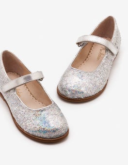 Iridescent Silver Party Mary Janes