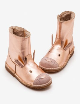 Rose Gold Short Leather Boots