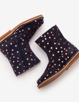 Navy Short Leather Boots