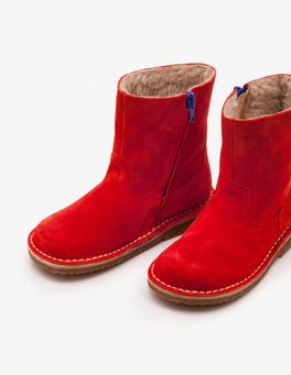 Post Box Red Short Leather Boots