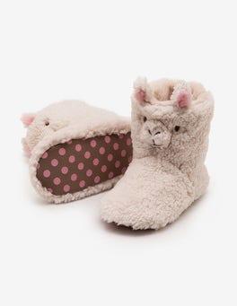 Ecru Llama Slipper Boots