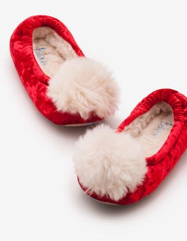 Polish Red Pompom Slippers