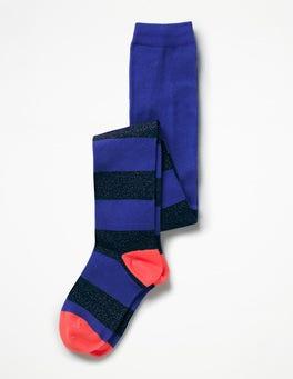 Cobalt Blue/Navy Lurex Patterned Tights