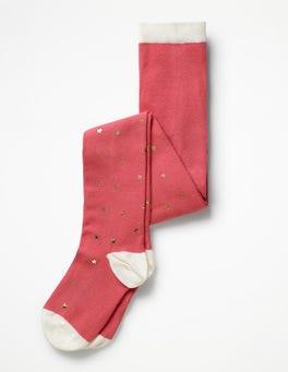 Rosette Pink Gold Foil Star Patterned Tights
