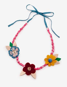 Ecru Vintage Bloom Fabric Necklace