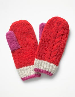 Polish Red Cable Mittens