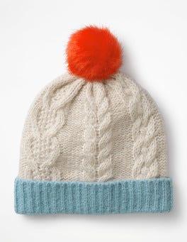 Ecru Marl Cable Beanie Hat