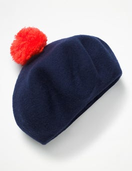 Navy Boiled Wool Beret