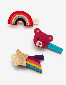 Rainbow 3 Pack Hair Clips