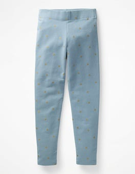 Boathouse Blue Gold Spot Fun Cosy Leggings