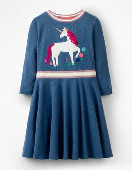 School Navy Unicorn Colour-change Sequin Dress