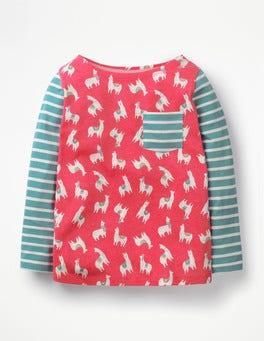 Pink Berry Llamas Hotchpotch Pocket T-shirt