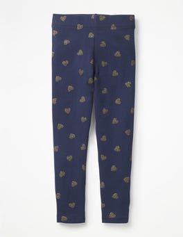School Navy/Gold Glitter Heart Fun Leggings