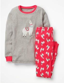 Pink Berry Llamas Cosy Long John Pyjamas