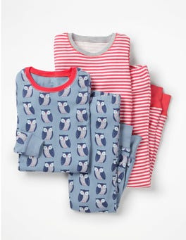 Boathouse Blue Geo Owl Twin Pack Long John Pyjamas