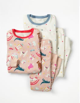 Provence Dusty Pink Toy Box Twin Pack Long John Pyjamas