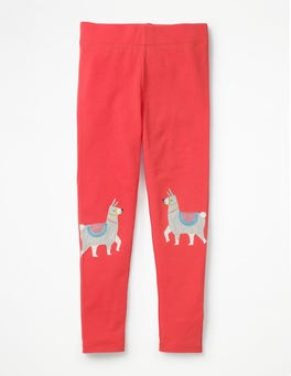 Pink Berry Llamas Appliqué Leggings