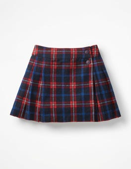 School Navy/Poppy Red Check Kilt