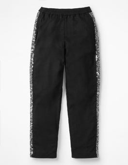 Black Sparkle Detail Woven Pants