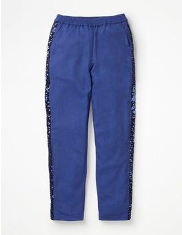Cobalt Blue Sparkle Detail Woven Trousers