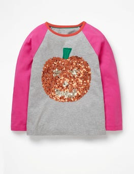 Grey Marl Pumpkin Spooky Sequin T-Shirt