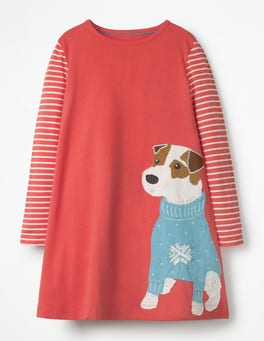 Rosette Pink Sprout Pet Appliqué Dress