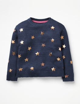 Navy Rose Gold Stars Foil Star Jumper