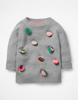 Grey Marl Pompom Sweater