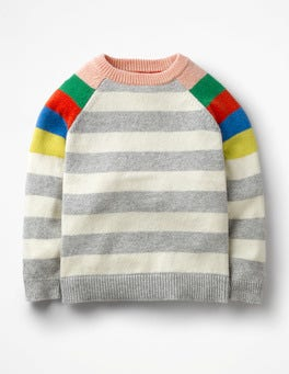 Grey Marl/Ecru Colourful Raglan Jumper