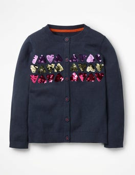School Navy Hearts Colour-change Sequin Cardigan