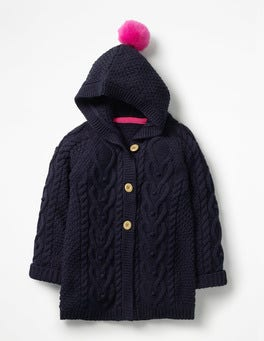 School Navy Long Cable Cardigan