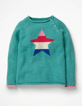 Aquamarine Green Star Colourful Knitted Jumper